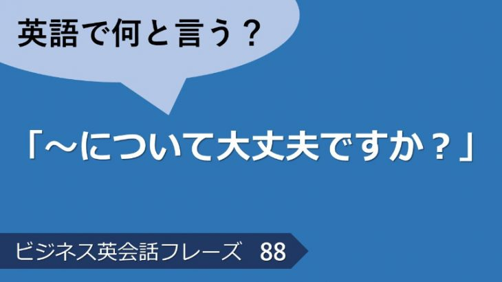 「~について大丈夫ですか?」は英語で?ビジネス英会話フレーズ  その88