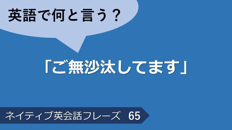 「ご無沙汰してます」は英語で?ネイティブ英会話フレーズ その65