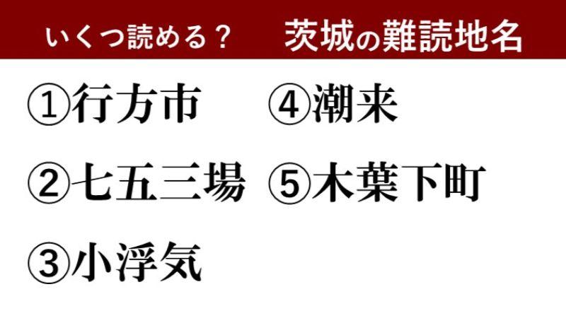 【激ムズ】茨城県民にしか分からない!?難読地名クイズ