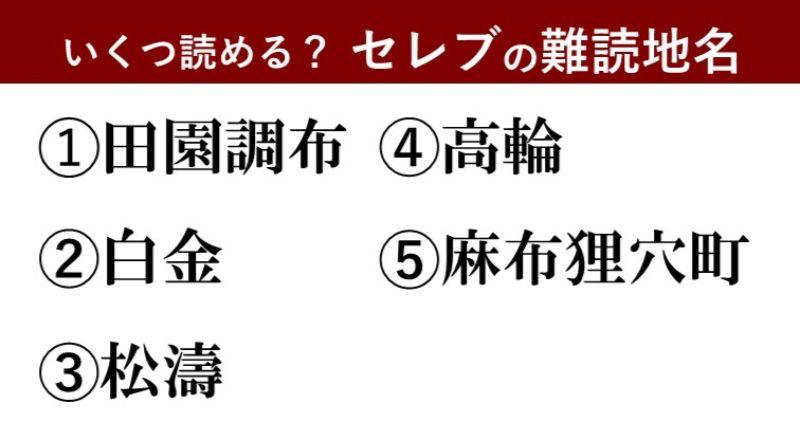 【激ムズ】一生縁がない?東京・セレブな難読地名クイズ