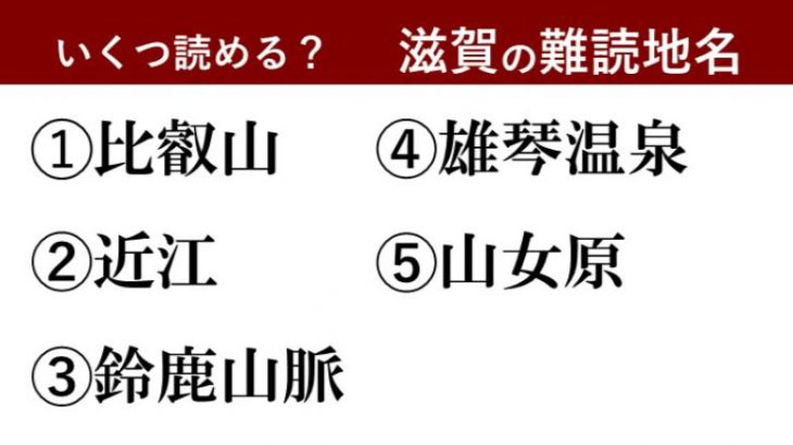 【激ムズ】滋賀県民にしか分からない!?難読地名クイズ