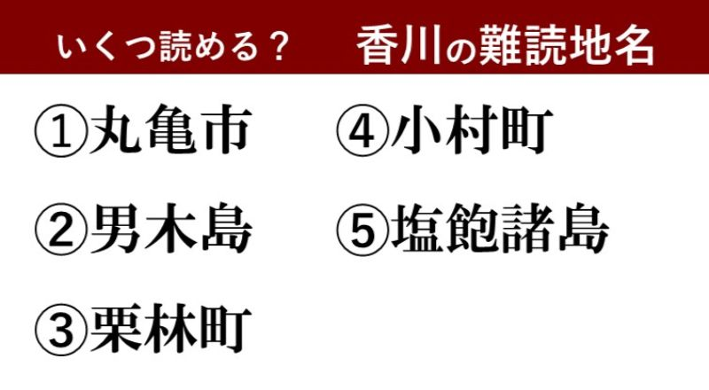 【激ムズ】香川県民にしか分からない!?難読地名クイズ