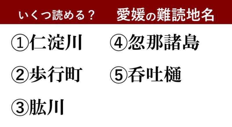 【激ムズ】愛媛県民にしか分からない!?難読地名クイズ