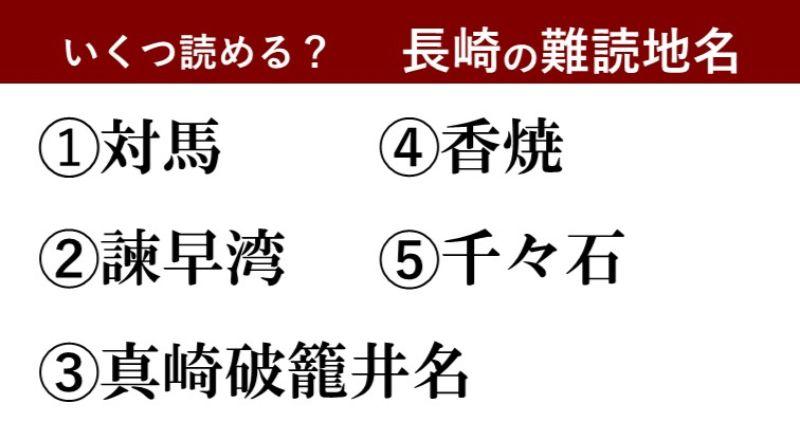 【激ムズ】長崎県民にしか分からない!?難読地名クイズ