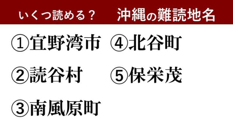 【激ムズ】沖縄好きにしか分からない!?難読地名クイズ