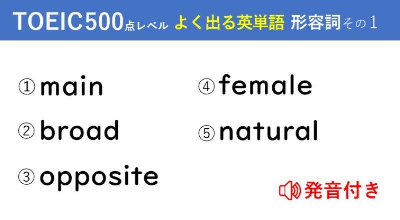 キホンのキ!英単語クイズ【TOEIC®500点レベル】 形容詞その1