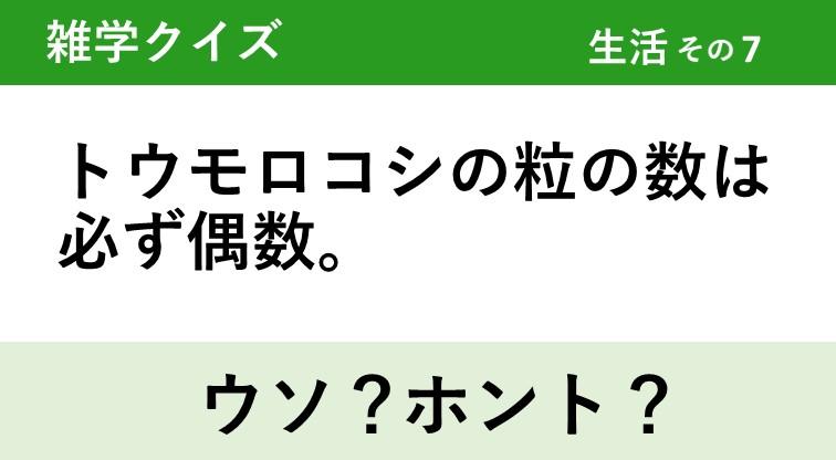 ウソ?ホント?雑学2択クイズ【生活】その7